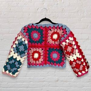 Handmade Crochet Granny Square Chunky Reversible Sweater with Floral Patchwork